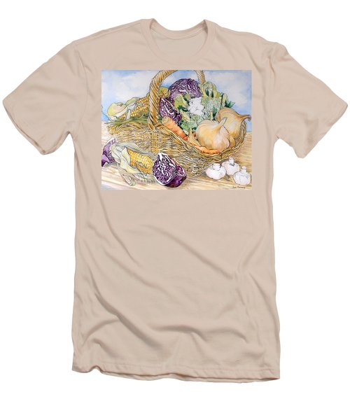Vegetables In A Basket Men's T-Shirt (Slim Fit) by Joan Thewsey