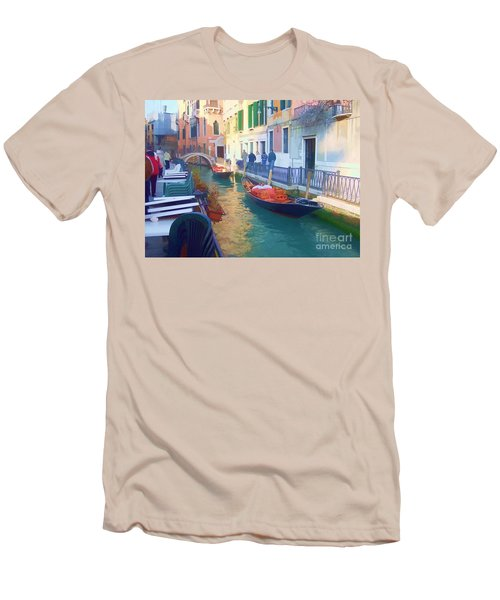 Men's T-Shirt (Slim Fit) featuring the photograph Venice Sidewalk Cafe by Roberta Byram