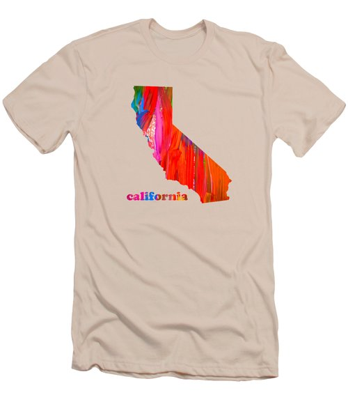 Vibrant Colorful California State Map Painting Men's T-Shirt (Athletic Fit)