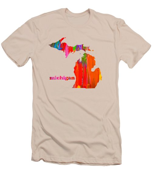 Vibrant Colorful Michigan State Map Painting Men's T-Shirt (Slim Fit) by Design Turnpike