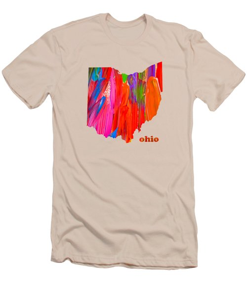 Vibrant Colorful Ohio State Map Painting Men's T-Shirt (Athletic Fit)