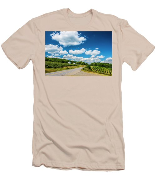 Vineyards In Summer Men's T-Shirt (Slim Fit) by Steven Ainsworth