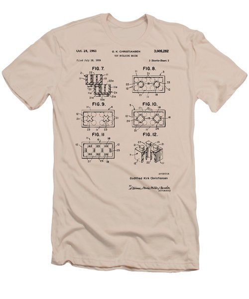 Vintage 1961 Lego Brick Patent Art Men's T-Shirt (Athletic Fit)