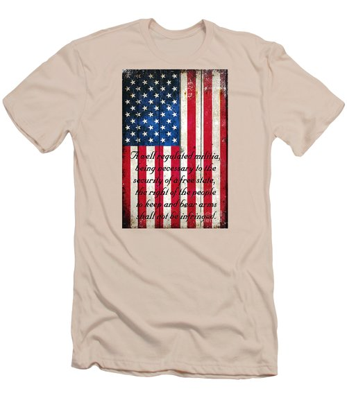 Vintage American Flag And 2nd Amendment On Old Wood Planks Men's T-Shirt (Slim Fit) by M L C