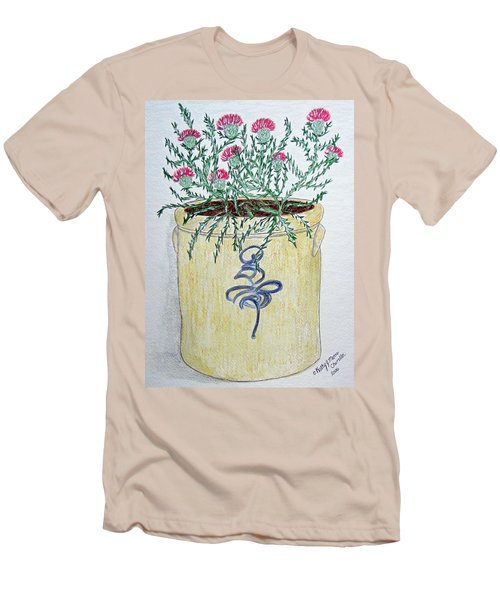 Men's T-Shirt (Slim Fit) featuring the painting Vintage Bee Sting Crock And Thistles by Kathy Marrs Chandler