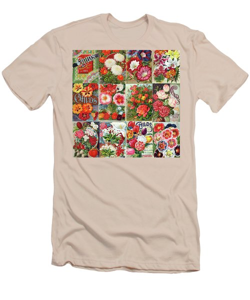 Vintage Childs Nursery Flower Seed Packets Mosaic  Men's T-Shirt (Slim Fit) by Peggy Collins