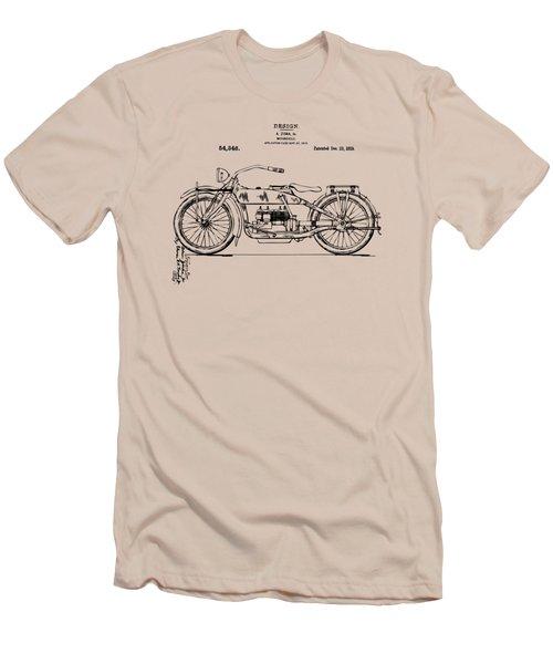 Vintage Harley-davidson Motorcycle 1919 Patent Artwork Men's T-Shirt (Slim Fit) by Nikki Smith