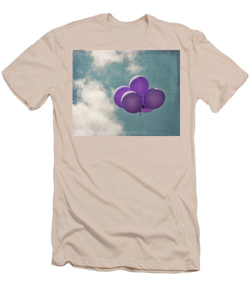 Vintage Inspired Purple Balloons In Blue Sky Men's T-Shirt (Athletic Fit)