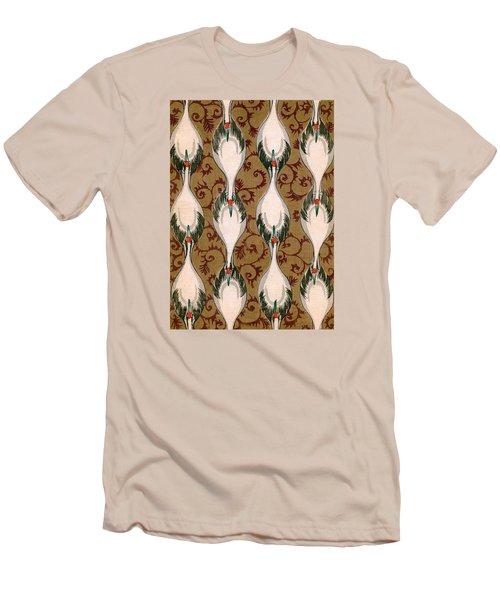 Vintage Japanese Illustration Of Cranes Flying Men's T-Shirt (Slim Fit)