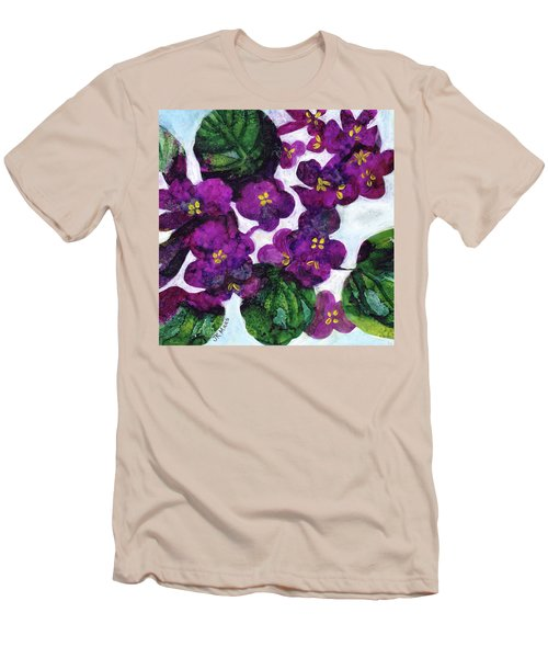 Men's T-Shirt (Slim Fit) featuring the painting Violets by Julie Maas