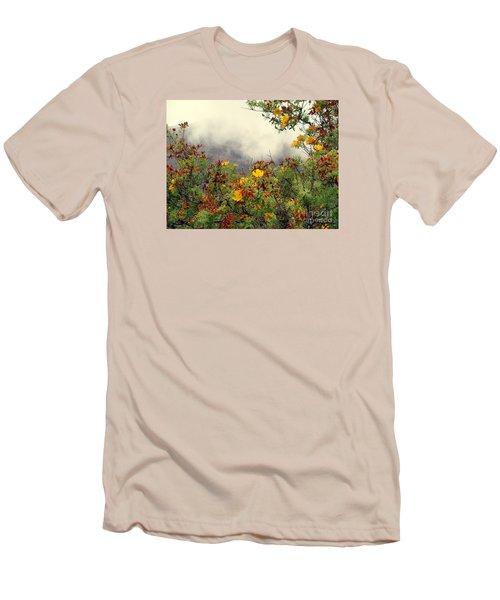 Volcano Scene Reunion Island Men's T-Shirt (Slim Fit) by John Potts