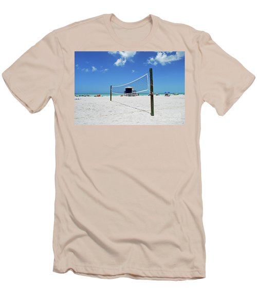 Men's T-Shirt (Athletic Fit) featuring the photograph Volley Ball On The Beach by Gary Wonning