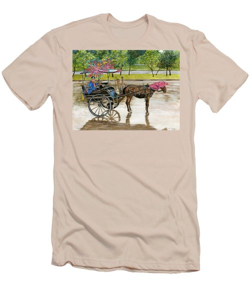 Men's T-Shirt (Slim Fit) featuring the painting Waiting For Rider Jakarta Indonesia by Melly Terpening