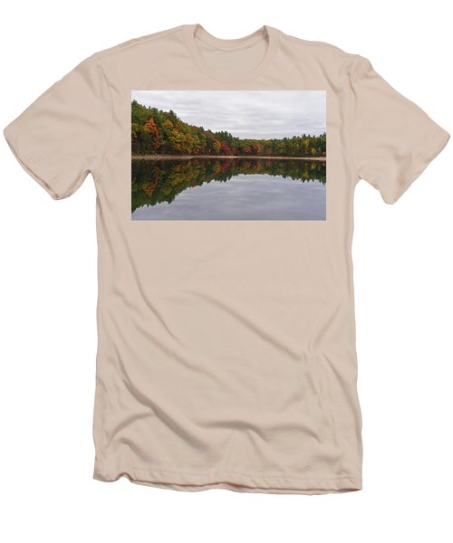 Walden Pond Fall Foliage Concord Ma Reflection Trees Men's T-Shirt (Athletic Fit)