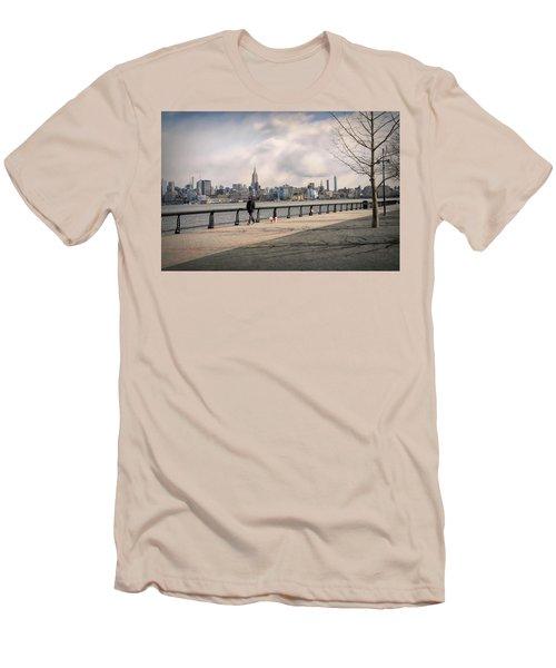 Walking Along Hoboken's Hudson River Waterfront Walkway Men's T-Shirt (Athletic Fit)