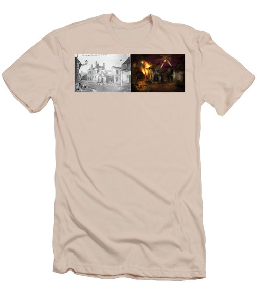 Men's T-Shirt (Slim Fit) featuring the photograph War - Wwi -  Not Fit For Man Or Beast 1910 - Side By Side by Mike Savad