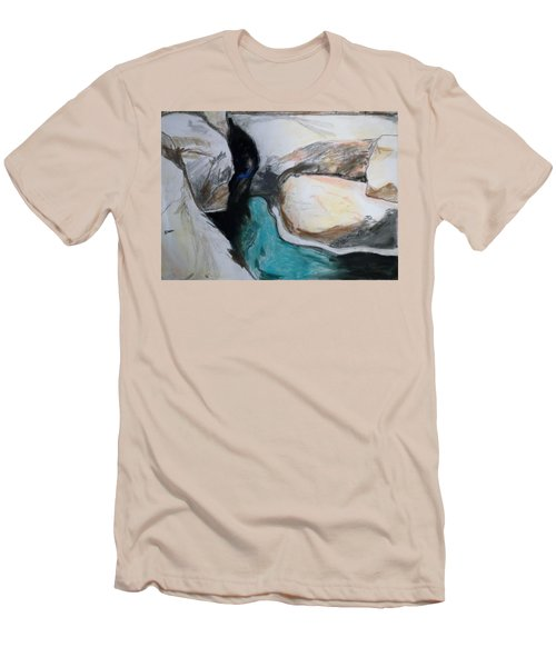Water Between The Rocks Men's T-Shirt (Slim Fit) by Esther Newman-Cohen