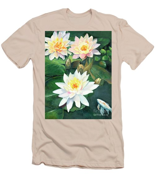 Men's T-Shirt (Athletic Fit) featuring the painting Water Lilies And Koi by Marlene Book