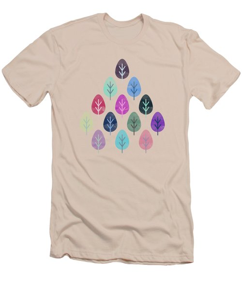 Watercolor Forest Pattern  Men's T-Shirt (Slim Fit) by Amir Faysal