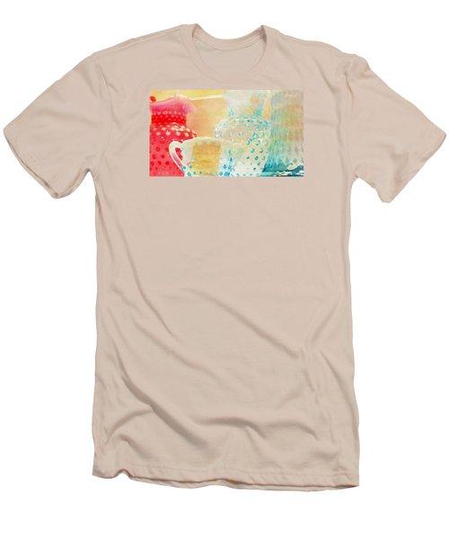 Watercolor Glassware Men's T-Shirt (Slim Fit) by Bonnie Bruno