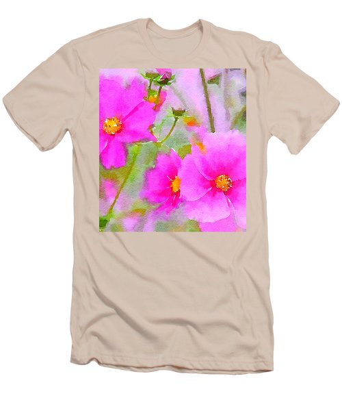Men's T-Shirt (Slim Fit) featuring the painting Watercolor Pink Cosmos by Bonnie Bruno