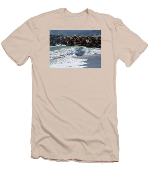 Waves Against Breakwater Men's T-Shirt (Athletic Fit)