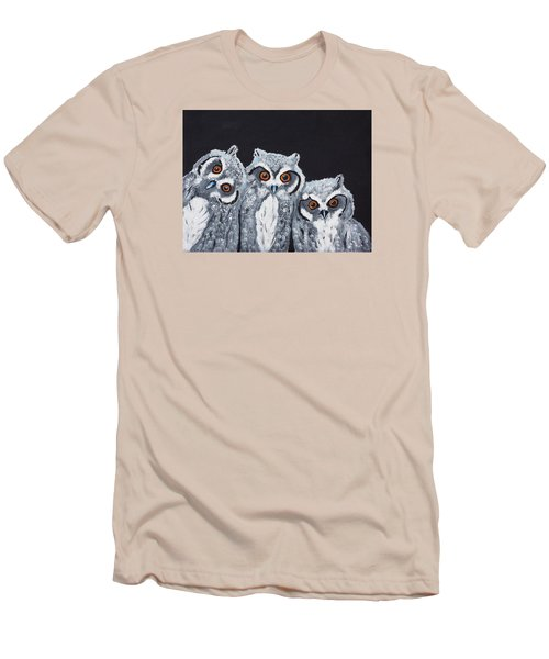 Men's T-Shirt (Slim Fit) featuring the painting Wee Owls by Scott Wilmot