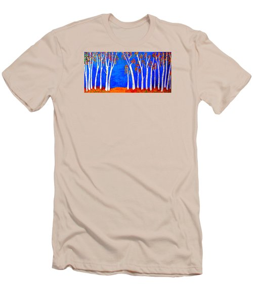 Men's T-Shirt (Slim Fit) featuring the painting Whimsical Birch Trees by Haleh Mahbod