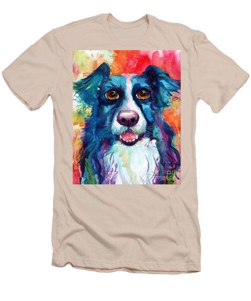 Whimsical Border Collie Dog Portrait Men's T-Shirt (Slim Fit) by Svetlana Novikova