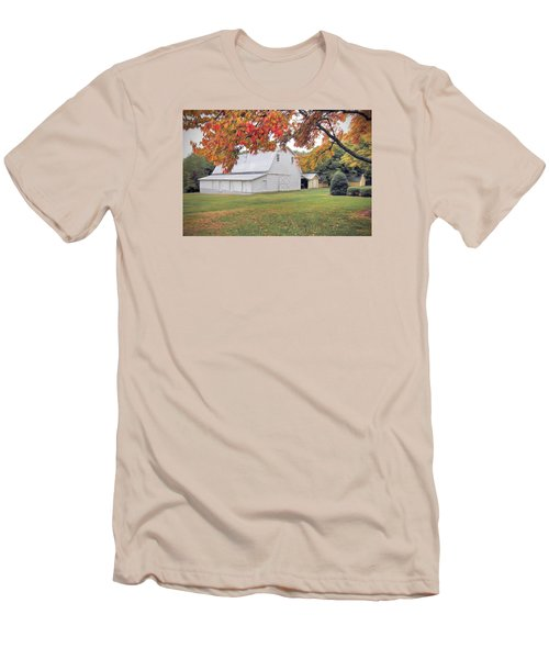 White Barn In Autumn Men's T-Shirt (Slim Fit) by Marion Johnson