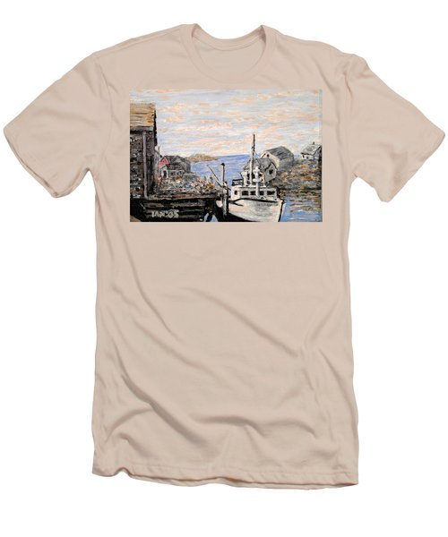 Men's T-Shirt (Slim Fit) featuring the painting White Boat In Peggys Cove Nova Scotia by Ian  MacDonald