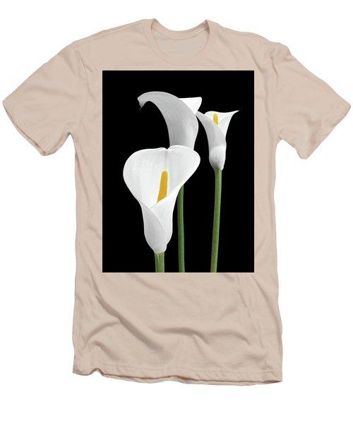 White Calla Lilies Men's T-Shirt (Slim Fit) by Gill Billington