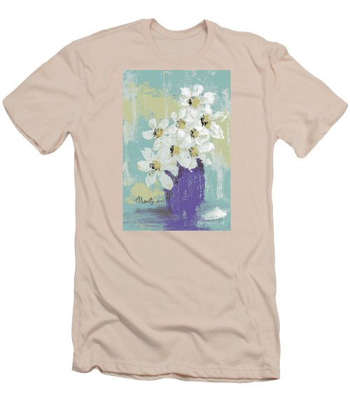 White Flowers Men's T-Shirt (Slim Fit) by P J Lewis