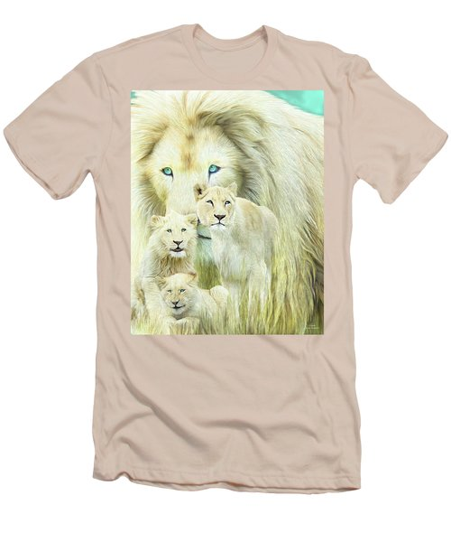 Men's T-Shirt (Athletic Fit) featuring the mixed media White Lion Family - Forever by Carol Cavalaris