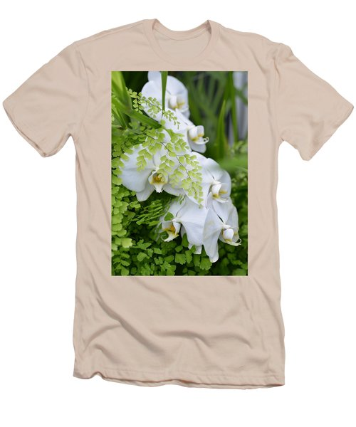 White Orchids Men's T-Shirt (Slim Fit) by Ronda Broatch