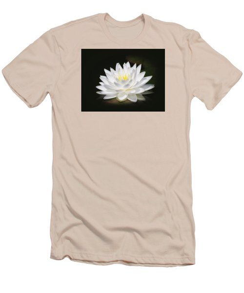 White Petals Glow - Water Lily Men's T-Shirt (Slim Fit) by MTBobbins Photography