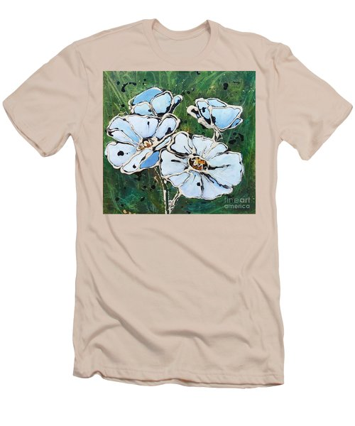 White Poppies Men's T-Shirt (Slim Fit) by Phyllis Howard
