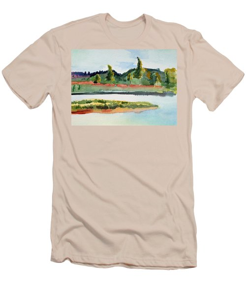 White River At Royalton After Edward Hopper Men's T-Shirt (Athletic Fit)