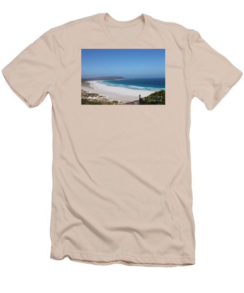 White Sand Beach Men's T-Shirt (Slim Fit) by Bev Conover