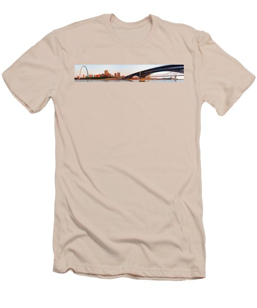 Wide View Of St Louis And Eads Bridge Men's T-Shirt (Slim Fit) by Semmick Photo