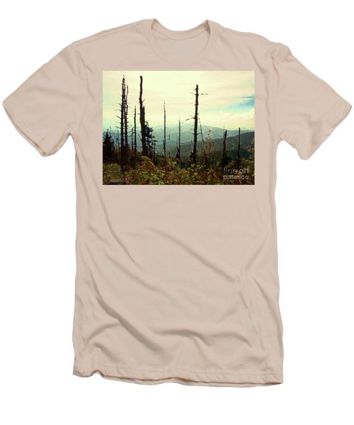 Men's T-Shirt (Slim Fit) featuring the mixed media Wildfire by Desiree Paquette