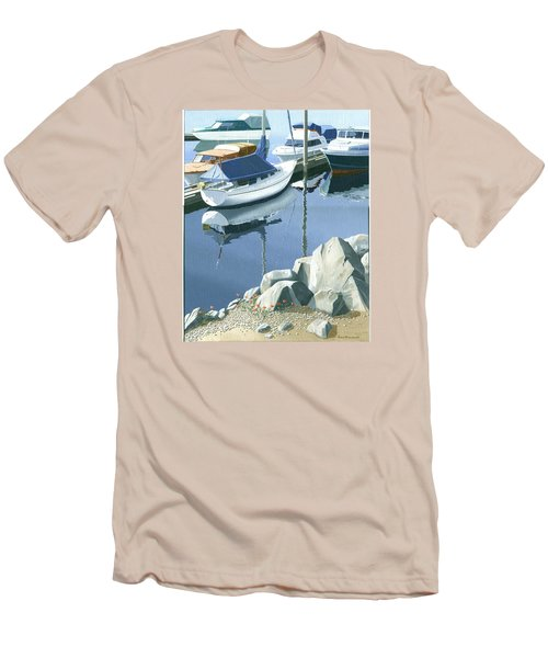 Wildflowers On The Breakwater Men's T-Shirt (Slim Fit) by Gary Giacomelli