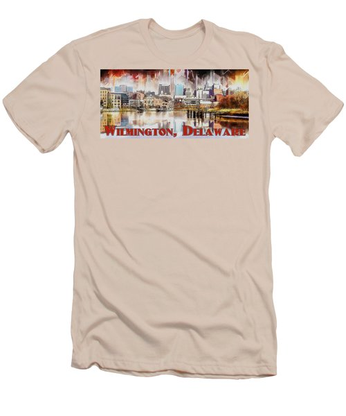 Men's T-Shirt (Slim Fit) featuring the painting Wilmington City Lights by Kai Saarto