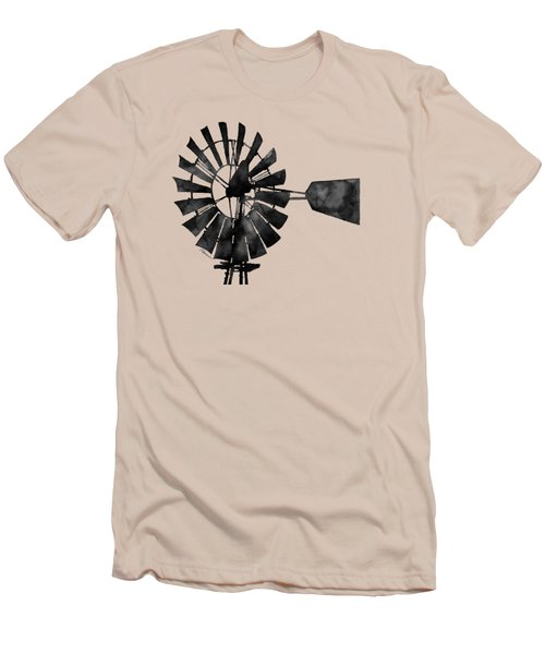 Windmill In Black And White Men's T-Shirt (Slim Fit) by Hailey E Herrera
