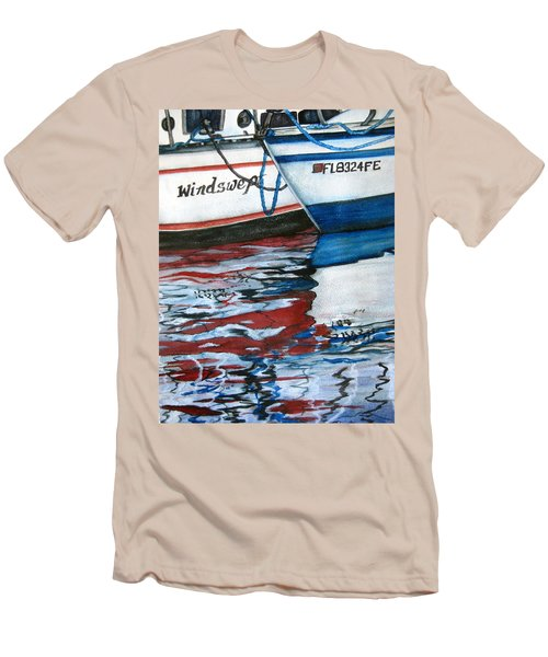 Men's T-Shirt (Slim Fit) featuring the painting Windswept Reflections Sold by Lil Taylor