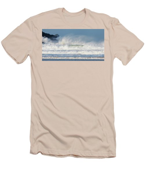 Men's T-Shirt (Slim Fit) featuring the photograph Windy Seas In Cornwall by Nicholas Burningham