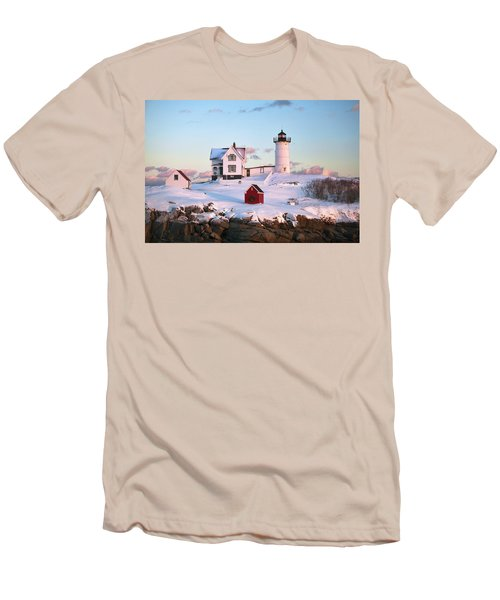 Winter At Nubble Men's T-Shirt (Athletic Fit)