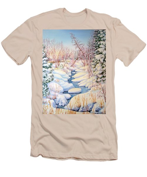 Winter Creek 1  Men's T-Shirt (Slim Fit) by Inese Poga