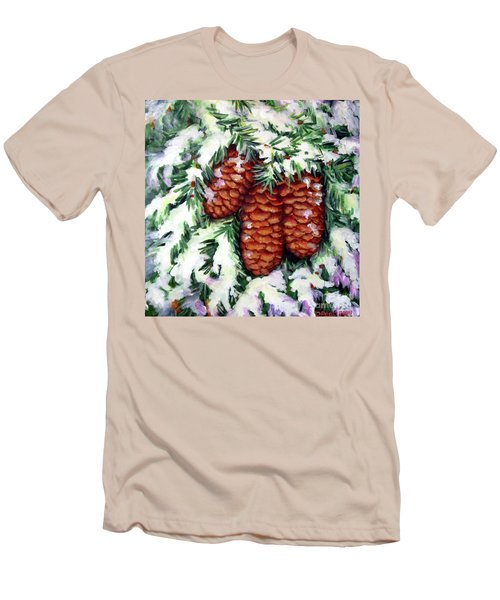 Winter Fir Cones Men's T-Shirt (Slim Fit) by Inese Poga