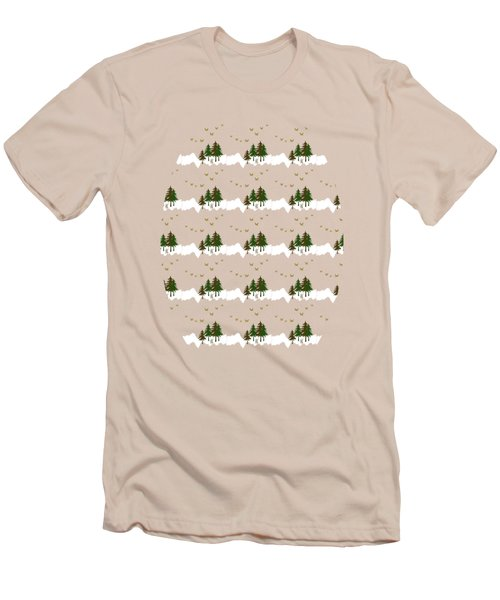 Men's T-Shirt (Slim Fit) featuring the mixed media Winter Woodlands Bird Pattern by Christina Rollo
